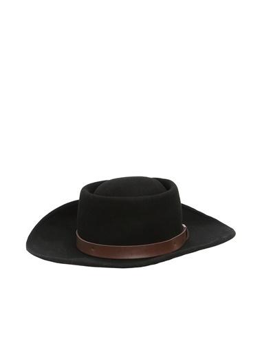 NetWork NetWork 1077295 100% Yün Deri Şerit Detaylı Kadın Fört Şapka Siyah